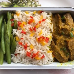 Nasi Putih with Daging Salai Masak Lemak and Sayur Buncis